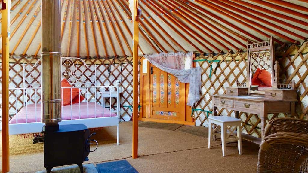 A separate bedroom for mum and dad in Oak Yurt