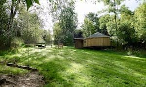 Ash Yurt With Rope Swing In The Foreground. Glamping Wales At Strawberry Skys Yurts.