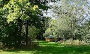 A Summer View To Ash Yurt Form Across The Yurts Field. Glamping Wales At Strawberry Skys Yurts.