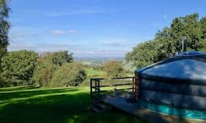 A Summer View Of The Scenery From Behind Oak Yurt. Glamping Wales At Strawberry Skys Yurts.